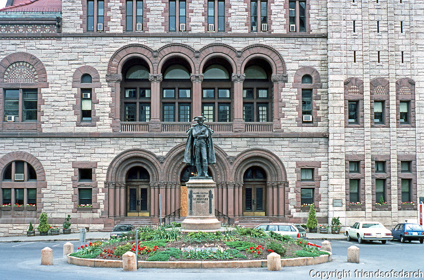 H. H. Richardson: Albany City Hall Facade. The bronze figure is Major General Philip Schuyler, 1733-1894.
