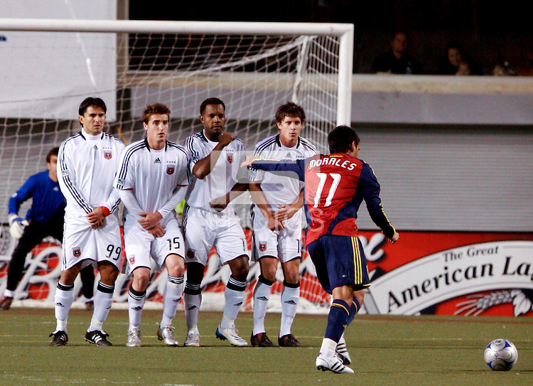 DC United's Jaime Moreno (99), Rod Dyachenko (15) Luciano Emilio (11), Devon McTavish (18) and Real Salt Lake's Javier Morales (11) in the Real Salt Lake 4-0 win over DC United at Rice-Eccles Stadium in Salt Lake City, Utah on April 12, 2008