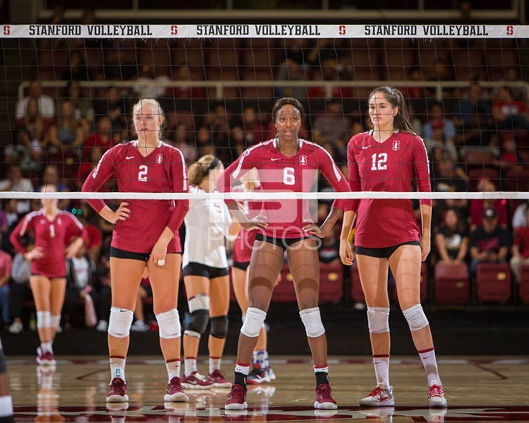 STANFORD, CA - September 9, 2018: Kathryn Plummer, Tami Alade, Audriana Fitzmorris at Maples Pavilion. The Stanford Cardinal defeated #1 ranked Minnesota 3-1 in the Big Ten / PAC-12 Challenge.