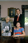 Johnny Graham and wife Caroline Churchill with family retainer Albertina at home in Oporto Portugal. 1989  An Anglo Portuguese family and owners of the  Churchill Graham Port Wine Company. 1980s .