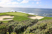 The par3 7th hole at Pebble Beach Golf Links during Saturday's Round 3 of the 2017 AT&amp;T Pebble Beach Pro-Am held over 3 courses, Pebble Beach, Spyglass Hill and Monterey Penninsula Country Club, Monterey, California, USA. 11th February 2017.<br /> Picture: Eoin Clarke | Golffile<br /> <br /> <br /> All photos usage must carry mandatory copyright credit (&copy; Golffile | Eoin Clarke)