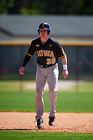 Iowa Hawkeyes first baseman Tyler Peyton (38) leads off during a game against the Dartmouth Big Green on February 27, 2016 at South Charlotte Regional Park in Punta Gorda, Florida.  Iowa defeated Dartmouth 4-1.  (Mike Janes/Four Seam Images)