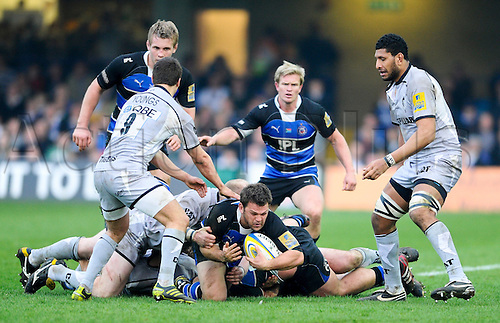26.03.2011 Aviva Premiership Rugby Bath v Leicester Tigers from the Rec in Bath. Bath Hooker (#2) Lee Mears tackled in the second half