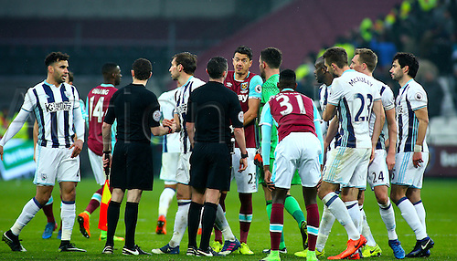 February 11th 2017, London Stadium, London, England, Premier League football, West Ham versus West Bromwich Albion; Jose Fonte of West Ham appeals to Referee Michael Oliver at full time, regarding West Brom's late equaliser