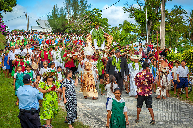 Celebration of the investiture of Makirau Haurua with the Teurukura Ariki title, Aitutaki Island, Cook Islands.