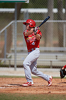 St. Louis Cardinals Shane Billings (4) during a Minor League Spring Training Intrasquad game on March 28, 2019 at the Roger Dean Stadium Complex in Jupiter, Florida.  (Mike Janes/Four Seam Images)