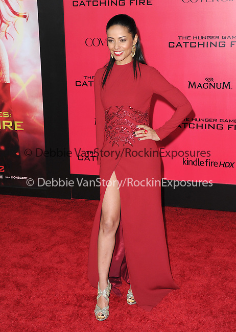 LOS ANGELES, CA - NOVEMBER 18: Meta Golding arrives at   THE HUNGER GAMES: CATCHING FIRE L.A. Premiere held at Nokia Live  in Los Angeles, California on November 18,2012                                                                               © 2013  Hollywood Press Agency
