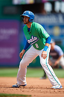 Hartford Yard Goats shortstop Ryan Metzler (8) leads off first base during a game against the Trenton Thunder on August 26, 2018 at Dunkin' Donuts Park in Hartford, Connecticut.  Trenton defeated Hartford 8-3.  (Mike Janes/Four Seam Images)