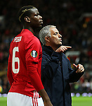 Manchester United manager Jose Mourinho and Paul Pogba signal to the bench during the UEFA Europa League match at Old Trafford Stadium, Manchester. Picture date: September 29th, 2016. Pic Matt McNulty/Sportimage