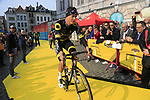 Defending winner Niki Terpstra (NED) Direct Energie at the team presentation in Antwerp before the start of the 2019 Ronde Van Vlaanderen 270km from Antwerp to Oudenaarde, Belgium. 7th April 2019.<br /> Picture: Eoin Clarke | Cyclefile<br /> <br /> All photos usage must carry mandatory copyright credit (&copy; Cyclefile | Eoin Clarke)