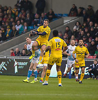 24th November 2019; AJ Bell Stadium, Salford, Lancashire, England; European Champions Cup Rugby, Sale Sharks versus La Rochelle; James of La Rochelle misses an early high ball - Editorial Use