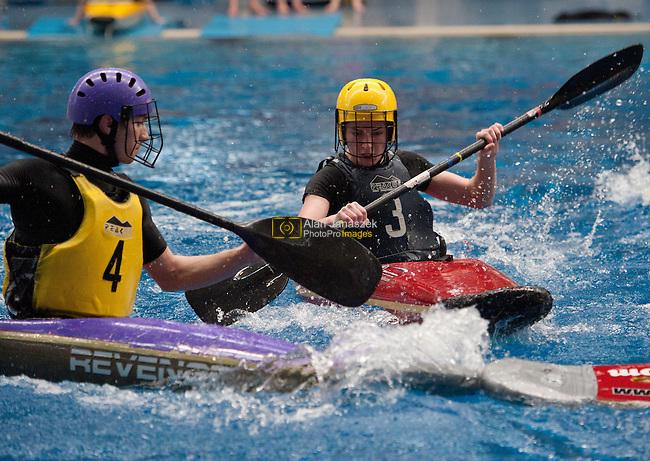 Varsity xv Men's Canoe Polo - University of Sheffield (yellow bib) v Hallam University (black bib) at Ponds Forge, Sheffield 01/04/11