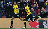 Etienne Capoue of Watfordcelebrates scoring his sides first goal of the match during the Premier League match between Watford and Swansea City at Vicarage Road Stadium, Watford, England, UK. Saturday 15 April 2017