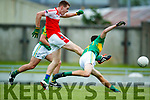 Conor O'Shea South Kerry in action against Barry O'Sullivan Dingle in the Quarter Final of the Kerry Senior County Championship at Austin Stack Park on Sunday.