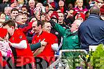 Bernard Murphy, Darran O'Sullivan Glenbeigh Glencar players celebrate their victory over Rock Saint Patricks in the Junior Football All Ireland Final in Croke Park on Sunday.