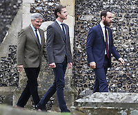 25 December 2016 - Michael Middleton, James Middleton and James Matthews attend a morning Christmas Day service at St Mark's Church in Englefield, Berkshire. Photo Credit: Alpha Press/AdMedia