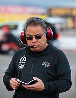 Feb 22, 2019; Chandler, AZ, USA; Todd Okuhara crew member for NHRA top fuel driver Leah Pritchett during qualifying for the Arizona Nationals at Wild Horse Pass Motorsports Park. Mandatory Credit: Mark J. Rebilas-USA TODAY Sports