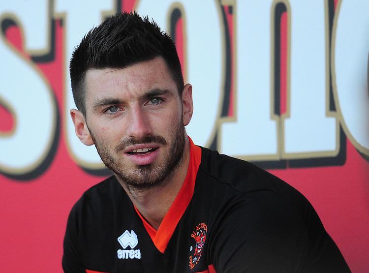 Blackpool's Michael Cain takes his place on the bench<br /> <br /> Photographer Kevin Barnes/CameraSport<br /> <br /> Football - The EFL Sky Bet League Two - Blackpool v Exeter City - Saturday 6th August 2016 - Bloomfield Road - Blackpool<br /> <br /> World Copyright © 2016 CameraSport. All rights reserved. 43 Linden Ave. Countesthorpe. Leicester. England. LE8 5PG - Tel: +44 (0) 116 277 4147 - admin@camerasport.com - www.camerasport.com