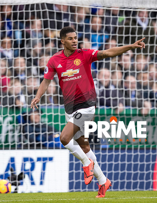 Marcus Rashford of Man Utd celebrates his winning goal on his 100th premier league appearance during the Premier League match between Leicester City and Manchester United at the King Power Stadium, Leicester, England on 3 February 2019. Photo by Andy Rowland.