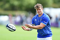Nick Auterac of Bath Rugby passes a ball during the pre-match warm-up. Pre-season friendly match, between Bristol Rugby and Bath Rugby on August 12, 2017 at the Cribbs Causeway Ground in Bristol, England. Photo by: Patrick Khachfe / Onside Images