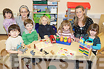 GROWING BIGGER: Children at the new pre-school in Killorglin Family Resource Centre, which has announced an expansion of services, with staff members, l-r: Sandra Courtney and Eileen Quirke.