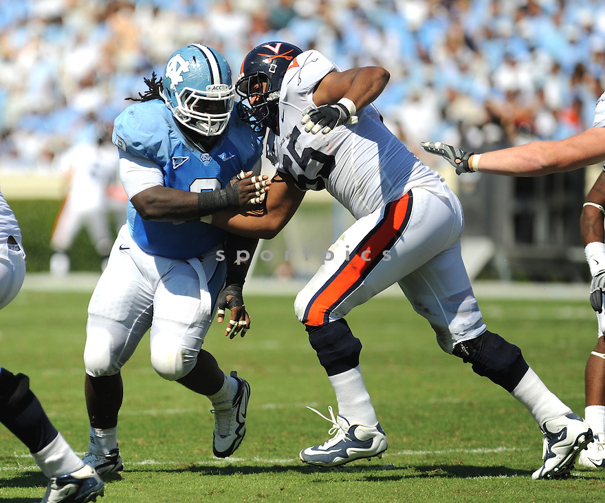 MARVIN AUSTIN, of the University of North Carolina Tarheels in action during the Tarheels  game against the Virginia Cavaliers on October 3, 2009 in Chapel Hill, NC. Virginia won 16 - 3..