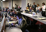 Nevada reporters work in the Assembly chambers at the Legislative Building in Carson City, Nev., on Sunday, May 31, 2015.  <br /> Photo by Cathleen Allison