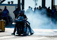 Oct 18, 2019; Ennis, TX, USA; NHRA pro stock motorcycle rider Jianna Salinas during qualifying for the Fall Nationals at the Texas Motorplex. Mandatory Credit: Mark J. Rebilas-USA TODAY Sports