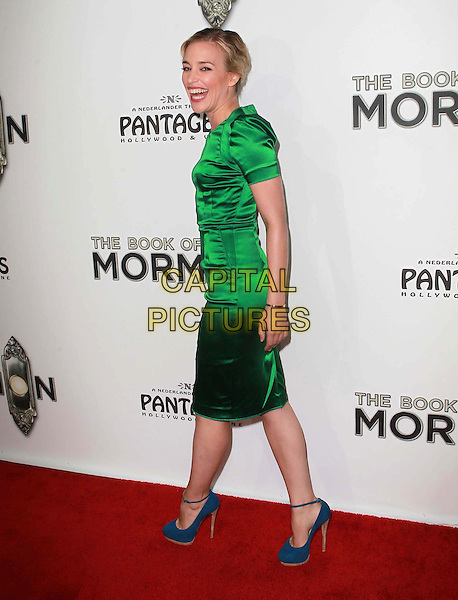 "Piper Perabo.""The Book of Mormon"" Hollywood Opening night Held At The Pantages theatre, Hollywood, California, USA..September 12th, 2012.full length dress green silk satin blue ankle strap shoes side smiling.CAP/ADM/KB.©Kevan Brooks/AdMedia/Capital Pictures."