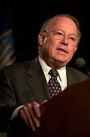 Montreal, April 18, 2001<br /> Quebec Premier ;  Bernard Landry delivering his speech at the `` Conference of Montreal `` on economy globalization, Aptil 18, 2001 in Montreal, CANADA.<br /> Photo by Pierre Roussel /