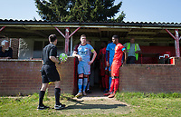 Captains Joel White of Tuffley Rovers & Cameron Gray of Flackwell Heath wait to be lead out during the UHLSport Hellenic Premier League match between Flackwell Heath v Tuffley Rovers at Wilks Park, Flackwell Heath, England on 20 April 2019. Photo by Andy Rowland.
