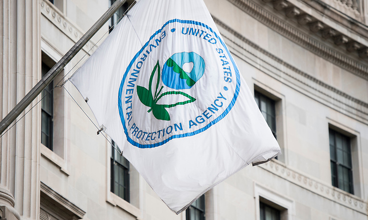 UNITED STATES - APRIL 22: A flag hangs over an entrance to the Environmental Protection Agency in Washington on April 22, 2017.  (Photo By Bill Clark/CQ Roll Call)