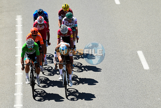 The breakaway featuring Lukas Pöstlberger (AUT) and Peter Sagan (SVK) Bora-Hansgrohe, Benoît Cosnefroy (FRA) AG2R-La Mondiale, Michael Gogl (AUT) NTT, Kasper Asgreen (DEN) Deceuninck-QuickStep, Toms Skujins (LAT) Trek-Segafredo and Anthony Perez (FRA) Cofidis during Stage 2 of Tour de France 2020, running 186km from Nice Haut Pays to Nice, France. 30th August 2020.<br /> Picture: ASO/Alex Broadway | Cyclefile<br /> All photos usage must carry mandatory copyright credit (© Cyclefile | ASO/Alex Broadway)