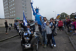 Activists and supporters pose with a mock Statue of Liberty at a pro-independence march in the Craigmillar district of Edinburgh on the day of the independence referendum. Yes Scotland were campaigning for the country to leave the United Kingdom, whilst Better Together were campaigning for Scotland to remain in the UK. On the 18th of September 2014, the people of Scotland voted in a referendum to decide whether the country's union with England should continue or Scotland should become an independent nation once again and leave the United Kingdom.