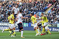 Bolton Wanderers' Josh Magennis heads at goal<br /> <br /> Photographer Andrew Kearns/CameraSport<br /> <br /> The EFL Sky Bet Championship - Bolton Wanderers v Blackburn Rovers - Saturday 6th October 2018 - University of Bolton Stadium - Bolton<br /> <br /> World Copyright &copy; 2018 CameraSport. All rights reserved. 43 Linden Ave. Countesthorpe. Leicester. England. LE8 5PG - Tel: +44 (0) 116 277 4147 - admin@camerasport.com - www.camerasport.com