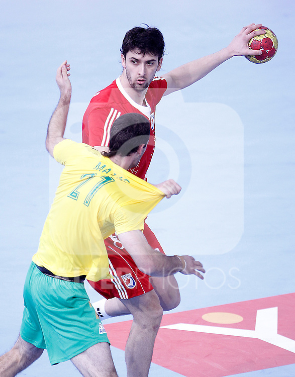 Croatia's Marko Kopljar (r) and Australia's Ognjen Matic during 23rd Men's Handball World Championship preliminary round match.January 12 ,2013. (ALTERPHOTOS/Acero)