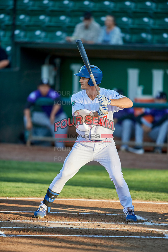 James Outman (47) of the Ogden Raptors bats during a game against the Grand Junction Rockies at Lindquist Field on September 7, 2018 in Ogden, Utah. The Rockies defeated the Raptors 8-5. (Stephen Smith/Four Seam Images)