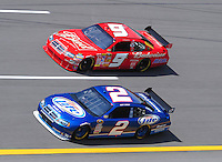 Apr 25, 2008; Talladega, AL, USA; NASCAR Sprint Cup Series driver Kurt Busch (2) races alongside Kasey Kahne (9) during practice for the Aarons 499 at Talladega Superspeedway. Mandatory Credit: Mark J. Rebilas-US PRESSWIRE