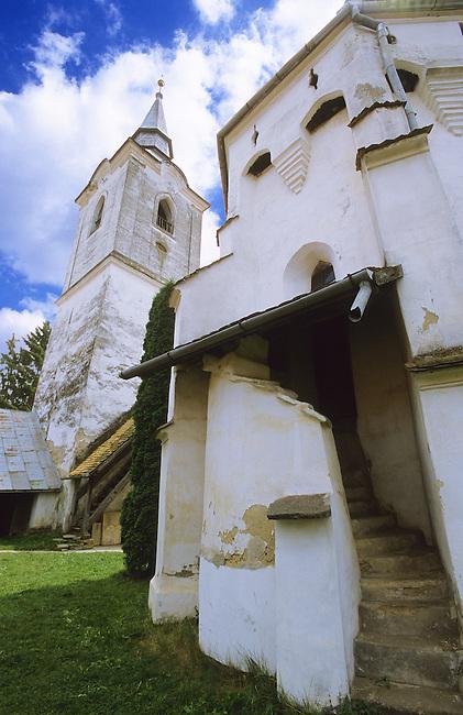 Exterior of a Saxon Unesco World Heritage Church at Dariju ( Szekelyderz ) Transylvania, Romania