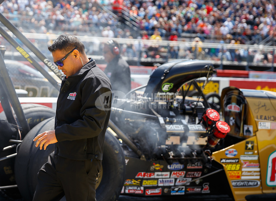 May 6, 2017; Commerce, GA, USA; Crew member for NHRA top fuel driver Leah Pritchett during qualifying for the Southern Nationals at Atlanta Dragway. Mandatory Credit: Mark J. Rebilas-USA TODAY Sports