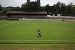 One of the backroom staff, Angus Wallace, a repairing the pitch at Millburn Park, Alexandria, after Vale of Leven hosted Ashfield in a West of Scotland League Central District Second Division Junior fixture. Vale of Leven were one of the founder members of the Scottish League in 1890 and remained part of the SFA and League structure until 1929 when the original club folded, only to be resurrected as a member of the Scottish Junior Football Association after World War II. They lost the match to Ashfield by 4-3, having led 3-1 with 10 minutes remaining.