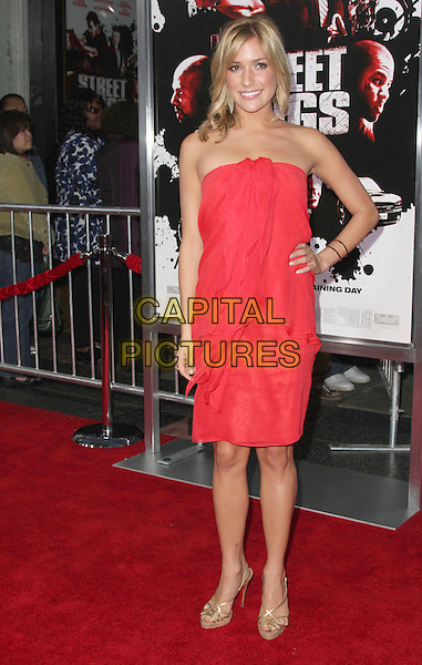 "KRISTIN CAVALLARI .""Street Kings"" Los Angeles Premiere held at Grauman's Chinese Theatre, Hollywood, California, USA,.03 April 2008..full length dress strapless red dress gold earrings hand on hip strappy sandals shoes .CAP/ADM/`CH.©Charles Harris/Admedia/Capital PIctures"