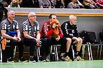 Stockholm 2014-11-08 Handboll Elitserien Hammarby IF - IFK Kristianstad :  <br /> Kristianstads m&aring;lvakt Dan Beutler ser fundersam ut n&auml;r han sitter vid sidan av planen under den f&ouml;rsta halvleken i matchen mellan Hammarby IF och IFK Kristianstad <br /> (Foto: Kenta J&ouml;nsson) Nyckelord:  Eriksdalshallen Hammarby HIF HeIF Bajen IFK Kristianstad fundersam fundera t&auml;nka analysera