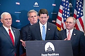 US House Speaker Paul Ryan (Republican of Wisconsin)  speaks to reporters after he and other members of the US House Republican Leadership met with US Vice President-elect Mike Pence on their plans to repeal the Affordable Care Act (ACA) in the US Capitol in Washington, DC on Wednesday, January 4, 2017.  From left to right: US Vice President-elect Mike Pence, US House Majority Leader Kevin McCarthy (Republican of California), Speaker Ryan, and US House Majority Whip Steve Scalise (Republican of Louisiana).<br /> Credit: Ron Sachs / CNP