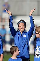 Kansas City, MO - Saturday July 16, 2016: Erika Tymrak prior to a regular season National Women's Soccer League (NWSL) match between FC Kansas City and the Washington Spirit at Swope Soccer Village.