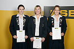 Girls Underwater Hockey finalists Sara Chamberlin, Claire George & Paige Moran. ASB College Sport Young Sportperson of the Year Awards 2007 held at Eden Park on November 15th, 2007.