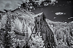 Black and white infrared image of the Yankee Girl Mine in Colorado