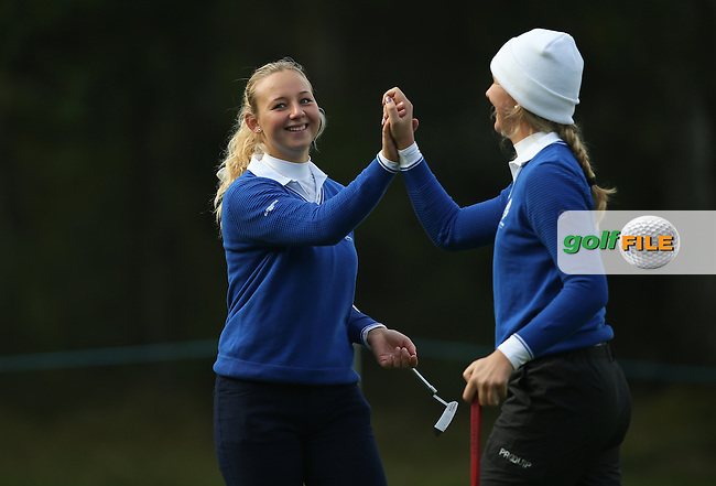 Match 2 action with Team Europe's Linnea Strom (SWE) and Emily Pedersen (DEN) playing Andrea Lee and Bethany Wu from the USA in the Foursomes of during the 2014 JUNIOR RYDER CUP at the Blairgowrie Golf Club, Perthshire, Scotland. Picture:  David Lloyd / www.golffile.ie