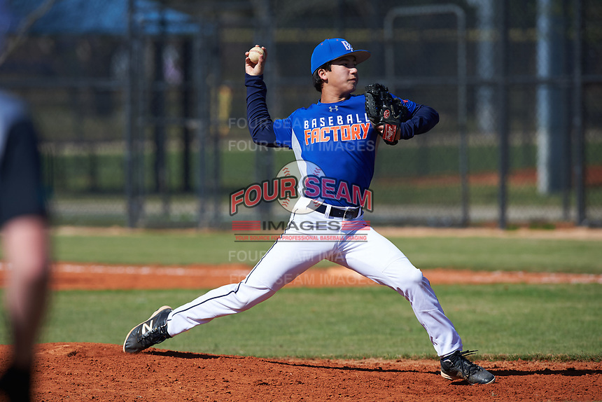 Ryan Vance (2) of Fresno, California during the Baseball Factory All-America Pre-Season Rookie Tournament, powered by Under Armour, on January 14, 2018 at Lake Myrtle Sports Complex in Auburndale, Florida.  (Michael Johnson/Four Seam Images)