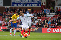 Adam Armstrong (Barnsley, loan from Newcastle United) of England strikes his penalty which is saved during the International match between England U20 and Brazil U20 at the Aggborough Stadium, Kidderminster, England on 4 September 2016. Photo by Andy Rowland / PRiME Media Images.